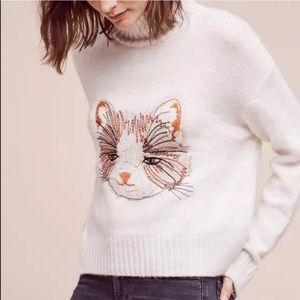 Anthropologie Miao embroidered cat sweater XS